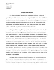 ENGL 1301 A Young Writer's Writing