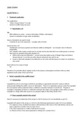 LWB486 Intellectual Prop Law - Example exam answers IP