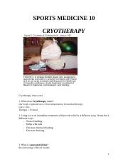 Cryotherapy Assignment - Shelby G