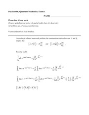 Exam 1 Fall 2014 on Quantum Mechanics