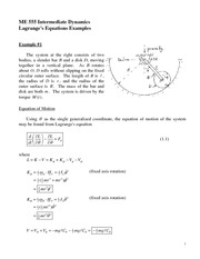 Lagrange's Equations Examples (2D) Review