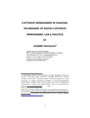ASHERRY MAGALLA DIGITAL COPYRIGHT INFRINGEMENT IN TANZANIA. LAW AND PRACTICE.pdf