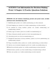 Week 3 (Chapter 2) Practice Questions Solutions