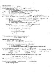 College Algebra 1113 Linear Function Notes