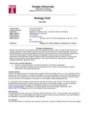 Biology 2112 Fall 2015 Syllabus