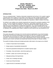 PROJECT #1 GUIDELINES - SPRING, 2014