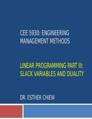 CEE 5930 -- Linear Programming Part 3 - Fall 2017(1) (1).pptx