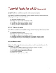Tutorial wk10 Discuss wk 11 Questions