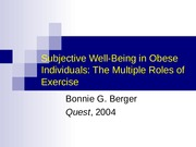6 Obesity and well being