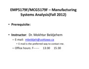 Course outline for Manufacturing system analysis