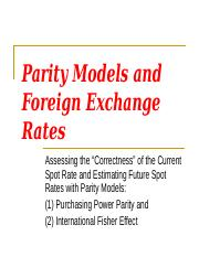 11 INBU 4200 Fall 2010 Parity Models and the Foreign Exchange Rate.ppt