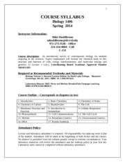 Biology 1406 Basic Syllabus MW Spring 2014