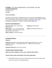 Course Syllabus Fall 2013