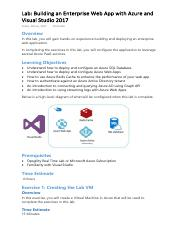 Lab-Building an Enterprise Web App with Azure and Visual Studio 2017.pdf