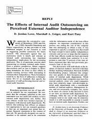 The Effects of Internal Audit Outsourcing on Perceived External Auditor Independence 2