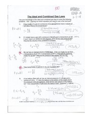 Printables Ideal Gas Law Worksheet Answers ideal gas law practice problems use the 1 pages and combined practice