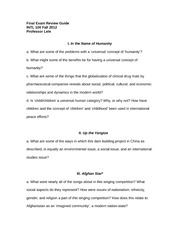 INTL 100 Final Exam Review Guide Fall 2012