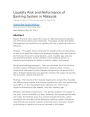 Liquidity Risk and Performance of Banking System in Malaysia.docx
