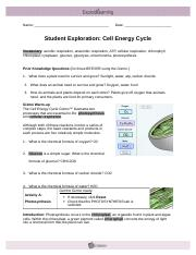 Cell Respiration Gizmo 1 - Name Date Student Exploration ...