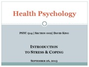 Introduction to Stress and Coping