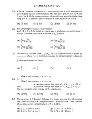 Questions on Chemical Kinetics