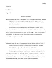 Tyler Lyman English 1C Death Penalty Annotated Bibliography