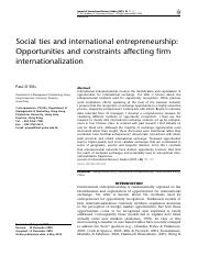 Social ties and international entrepreneurship - Opportunities and constraints affecting firm intern