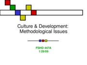 Culture & Development Methodological Issues
