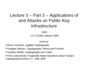 CS283 - Lecture 3 - Part 3 - Applications of and Attacks on Public Key Infrastructure - 20091020
