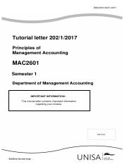 MAC2601- Assignment 2-Solution-2017