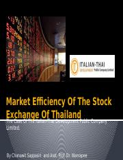 Market Efficiency Of The Stock Exchange Of Thailand