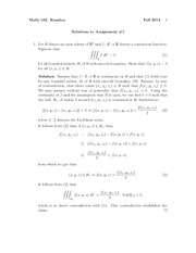 Assignment 1 Solution Spring 2014 on Partial Differential Equations