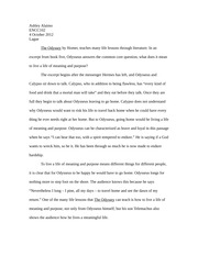 1 page essay - the odyssey
