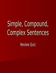 Simple, Compound, Complex Sentences review quiz.ppt