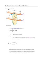 The Magnetic Force Between Parralel Conductors