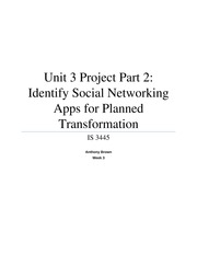 Unit 3 Project Part 2 - Identify Social Networking Apps for Planned Transformation