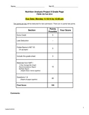 NAP II Rubric and Questions - Fall 14