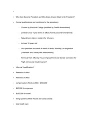 Notes on Who Can Become President and Why Does Anyone Want to Be President