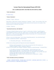 Lecture Notes for International Financ 100829