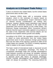 Analysis on U.S Export Trade Policy.docx