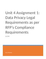 Unit 4 Assignment 1 - Data Privacy Legal Requirements as per RFP's Compliance Requirements