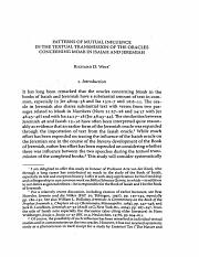 Richard D. Weis, Patterns of Mutual Influence in the Textual Transmission of the Oracles Concerning