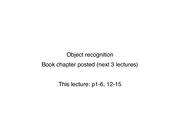 Lecture #20 Object Recognition