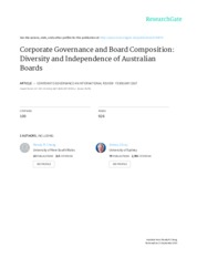 Corporate Governance and Board Composition Diversity and independence of australian board