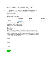 Wk 3 Quiz Chapters 14, 18