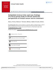 Mistrust- AA women and brst cancer treatment protocols