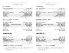 Umich Academic Calendar Spring 2020.2018 2020 Academic Calendar Pdf The University Of Michigan