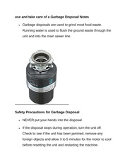 use and take care of a Garbage Disposal Notes