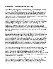 Descriptive Essays Examples