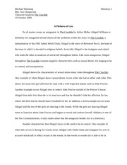 A Plethora of Lies character paper